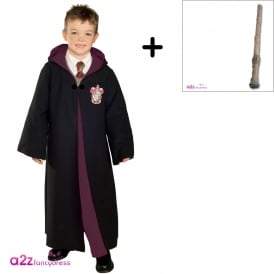 ~ Deluxe Gryffindor Robe - Harry Potter Costume Set (Robe, Harry Potter Wand)