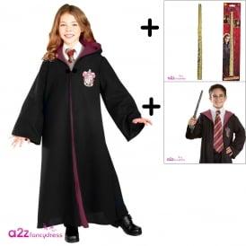 ~ Hermione Granger Deluxe Gryffindor Robe - 3 Piece Costume Set (Robe, Hermione Wand, Tie)