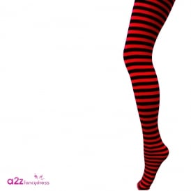 Black & Red Striped Tights - Kids Accessory