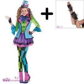 Sassy Mad Hatter - Teen Costume Set (Costume, Lace up Glovelettes)