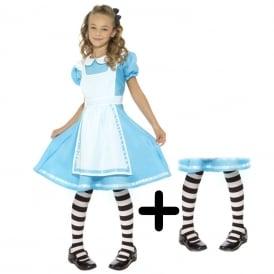 Wonderland Princess - Kids Costume Set (Costume, Black & White Tights)