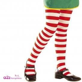 Red & White Stripe Tights - Kids Accessory