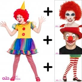 Cute Little Clown - Kids Costume Set (Costume, Stripe Tights, Wig, Nose & Facepaint)