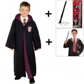 ~ Deluxe Gryffindor Robe - Harry Potter 3 Piece Costume Set (Robe, Tie, Wand & Glasses Kit)