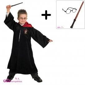 ~ Deluxe School Robe - Kids Costume Set (School Robe, Wand & Glasses Set)