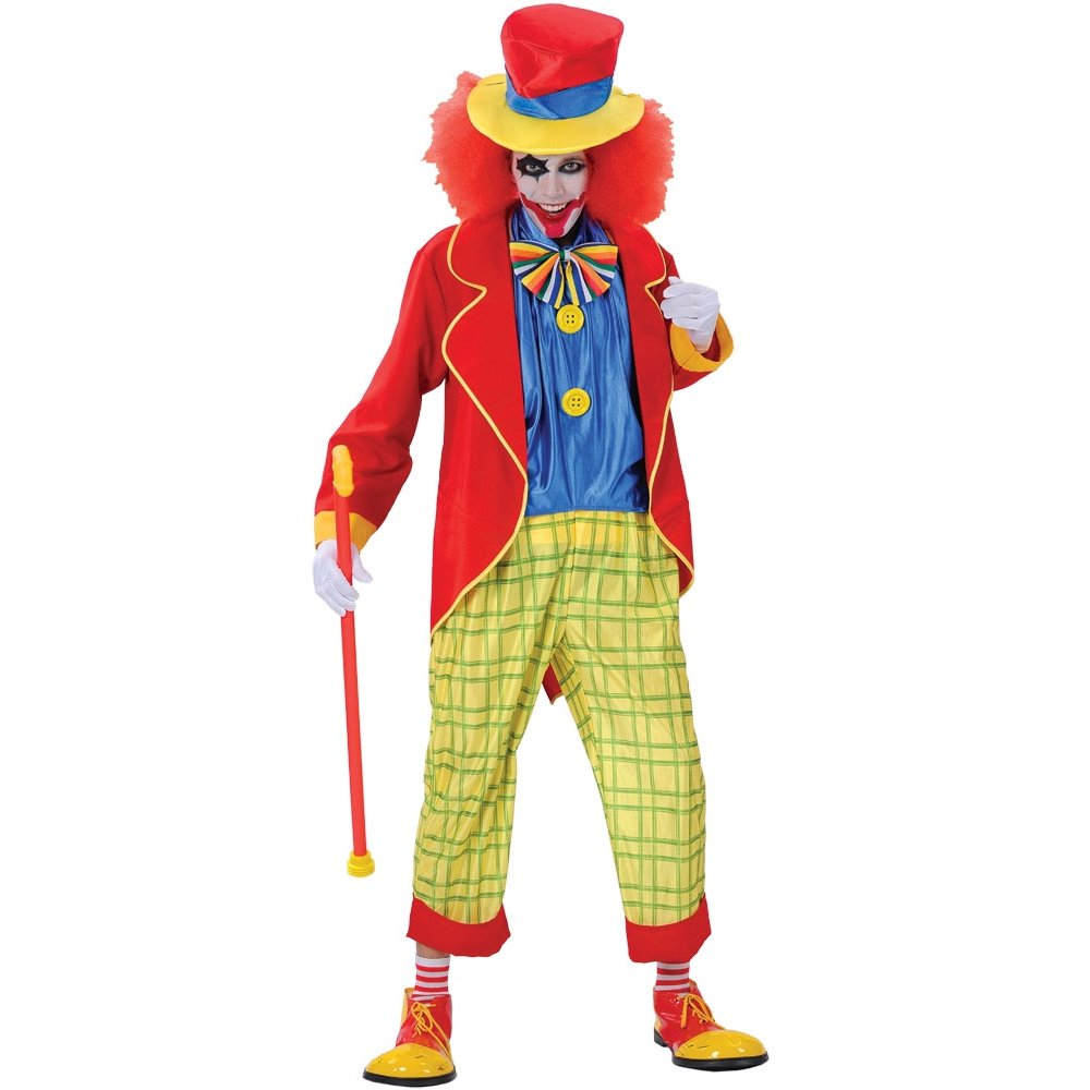 KIDS ADULTS CLOWN JESTER HORROR SCARY HALLOWEEN CIRCUS FANCY DRESS ...