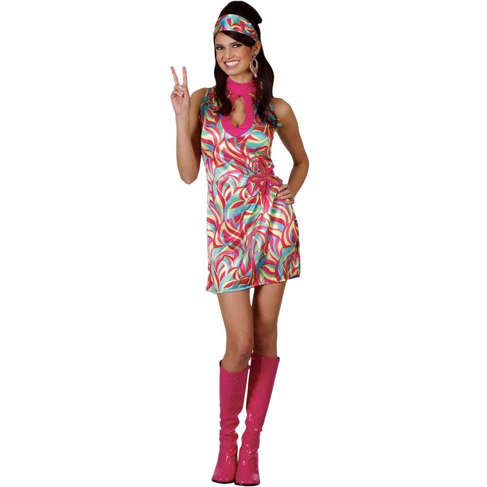 Ladies Hippie Hippy 60s 70s Groovy Retro Fancy Dress Costume Flares