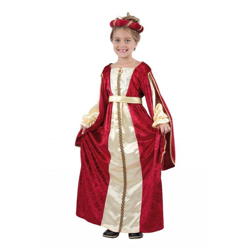 Regal-Red-Princess-Costume-Kids-Girls-Tudor-Medieval-RenaissanceSizes-3-10-Years