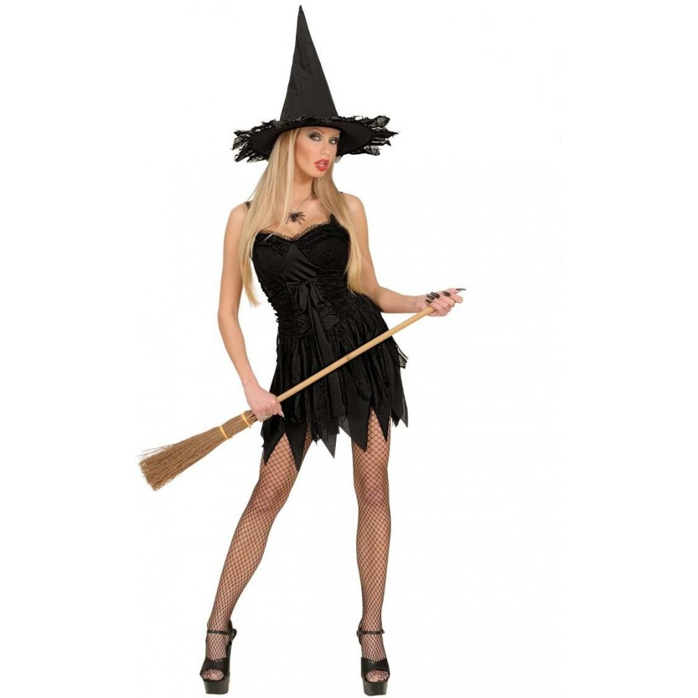 Ladies Halloween Gothic Sexy Scary Sorceress Enchant Witch Fancy ...