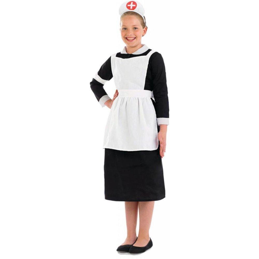 White pinafore apron nurse - Girls Book Week Character Tudor Victorian Orphan Ww2