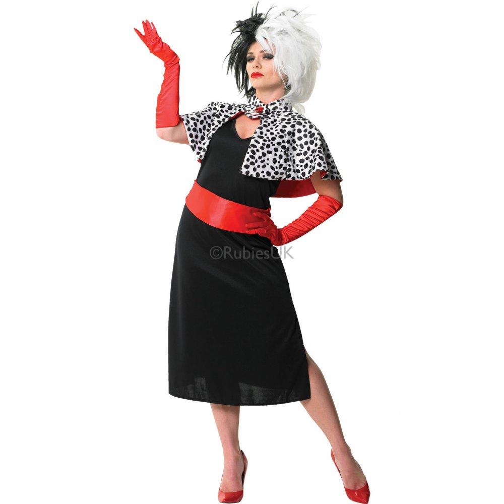 adult disney 101 dalmatians cruella de vil ladies halloween fancy dress costume ebay. Black Bedroom Furniture Sets. Home Design Ideas