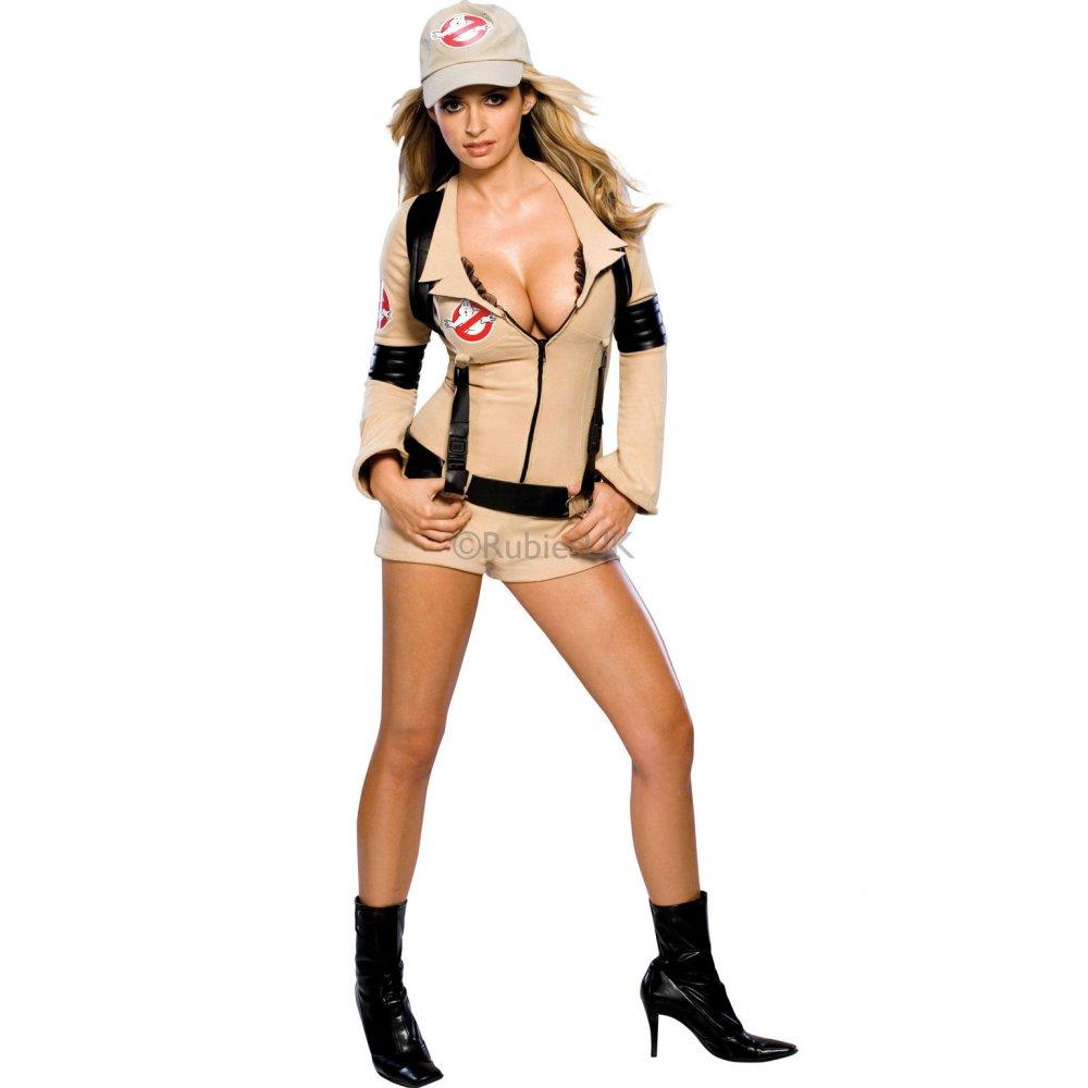 LADIES SEXY GHOSTBUSTERS 80S WOMENS HALLOWEEN MOVIE FANCY DRESS ...