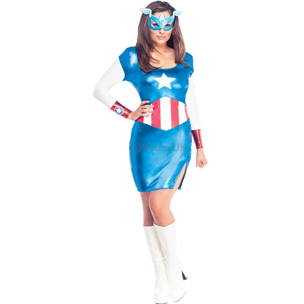 LADIES AVENGERS MARVEL SUPERHERO WOMEN HEROINE ADULT FANCY ...