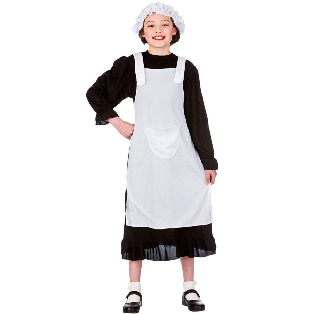 White apron fancy dress - Girls Victorian Poor Girl Parlour Maid Urchin Book