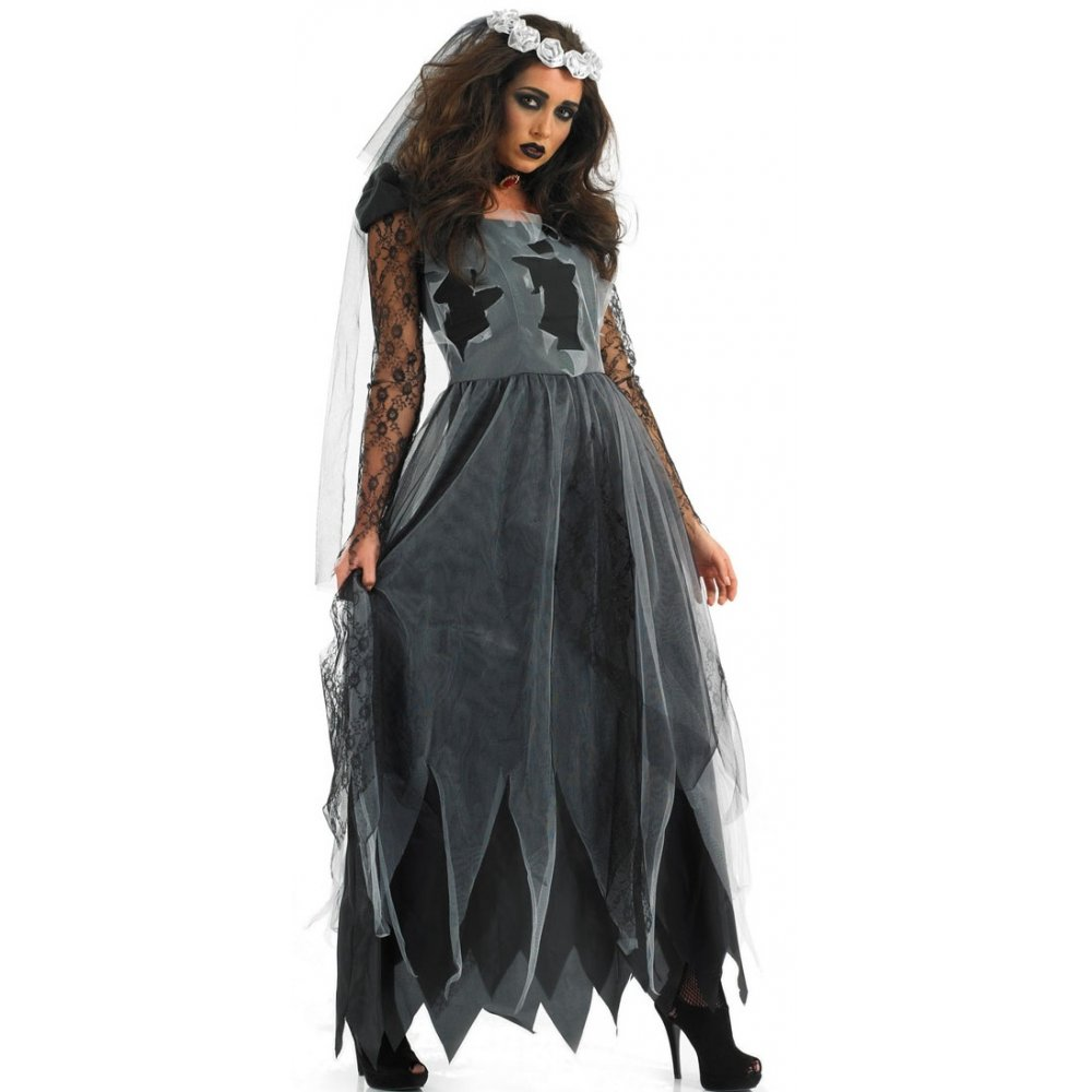 Ladies zombie bride dead corpse ghost gothic halloween for Corpse bride wedding dress for sale