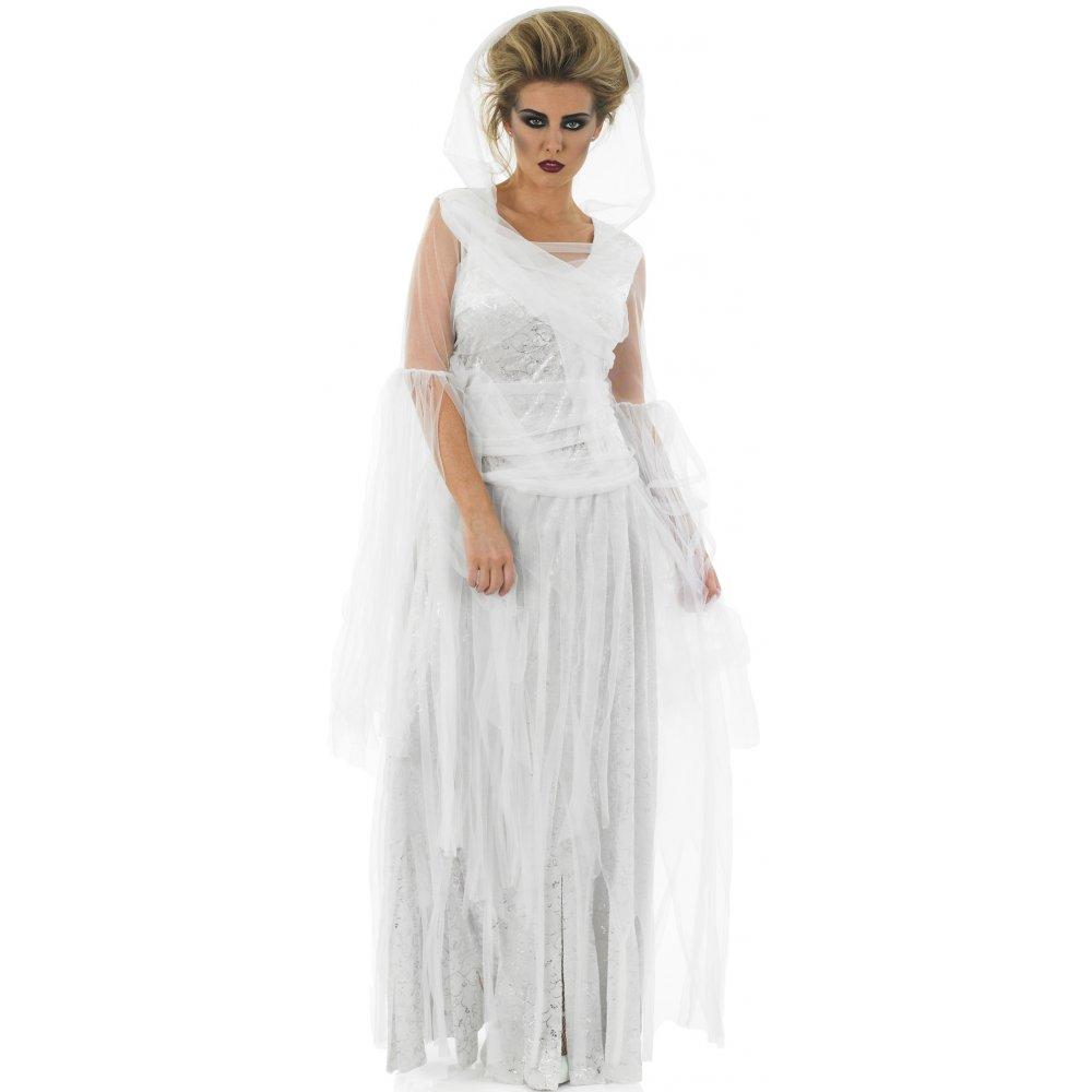 corpse bride wedding dress LADIES GHOST HALLOWEEN SPIRIT CORPSE BRIDE HAUNTING FANCY