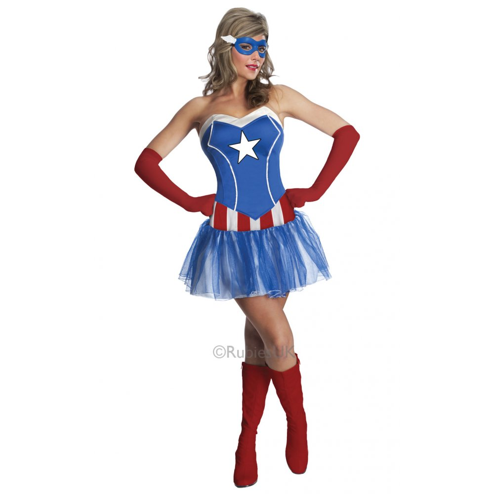 ADULT-MARVEL-AVENGERS-SUPERHERO-DELUXE-FANCY-DRESS-COSTUME-  sc 1 st  eBay : captain america womens halloween costume  - Germanpascual.Com