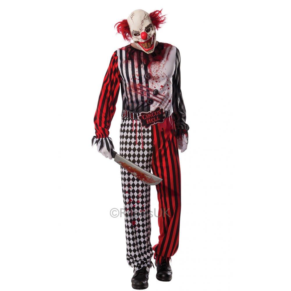 new mens clown it jester horror scary halloween circus kids fancy dress costume ebay. Black Bedroom Furniture Sets. Home Design Ideas
