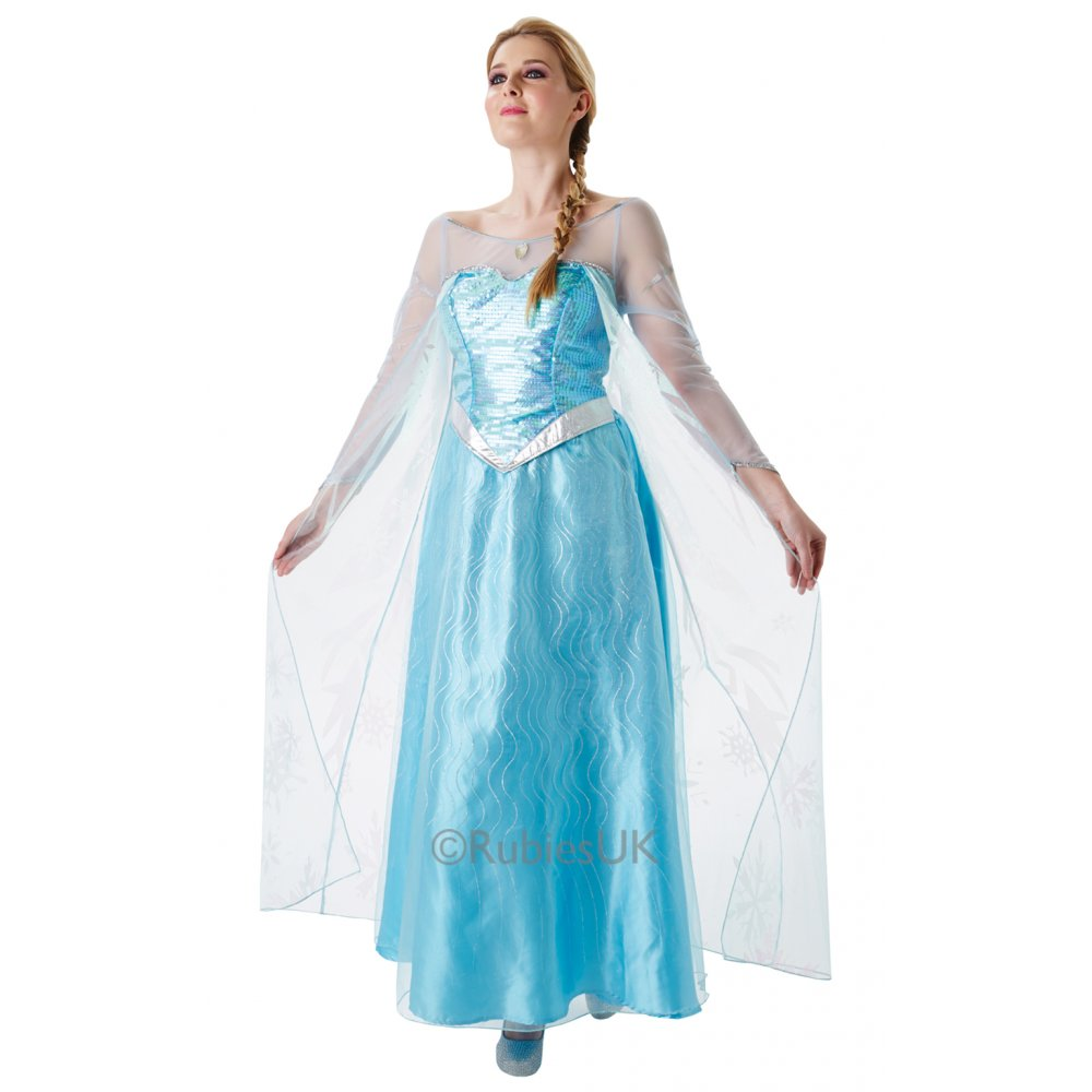 girls adult frozen elsa anna classic deluxe musical disney fancy dress costume ebay. Black Bedroom Furniture Sets. Home Design Ideas